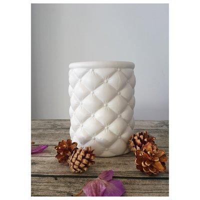【現貨】素燒陶瓷花瓶 菱格設計款 優雅質感白 (小) ~~ 昌侑藝術CHY畫廊
