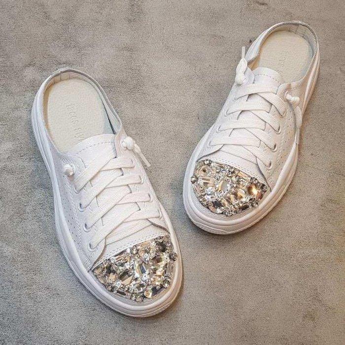 『※妳好,可愛※』韓國童鞋~韓國女鞋 正韓  真皮款 真皮寶石款穆勒鞋 休閒拖鞋 樂福鞋 平底鞋 懶人鞋