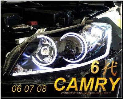 ☆小傑車燈家族☆ CAMRY 6代 CAMRY 06 07 08 雙光圈 + 燻黑+ 雙功能 R8 導光條 camry大燈