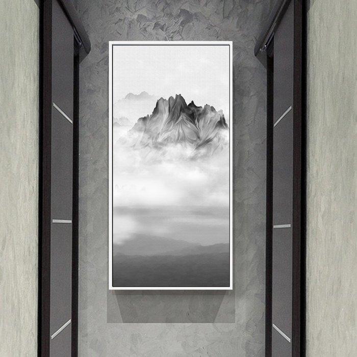 新中式客廳國畫裝飾畫畫芯山水風景畫玄關豎版過道壁畫(3款可選)
