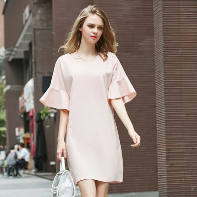 GOGO SHOP☆╭歐美時裝 occident優雅荷葉袖擺洋裝純色連身裙【Y1196】XL~5XL長袖衛衣雪紡衫外套