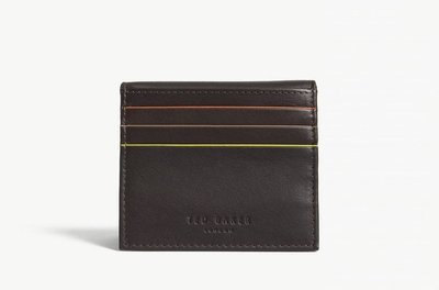 TED BAKER Striped piping leather card holder 卡夾(巧克力色)(預購)附盒