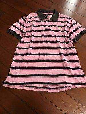 澳門製 粉紅咖啡橫條 AF 款上衣 約9成新(不含搭配短褲) L號   大尺碼可 高雄市