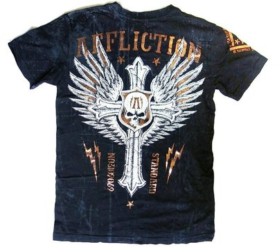 Affliction 短袖 T 恤 黑色 銅箔十字架骷顱翅膀 手工設計 刺青潮牌 S【以靡賣場 專櫃正品】