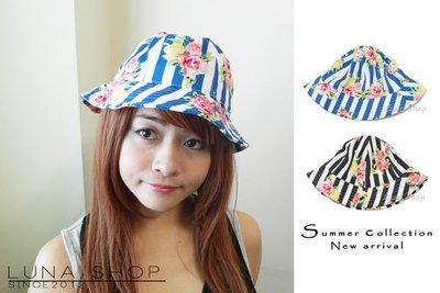 *Luna Shop*【HA-186】復古日系條紋花朵圓頂帽漁夫帽-藍色  現貨出清125元