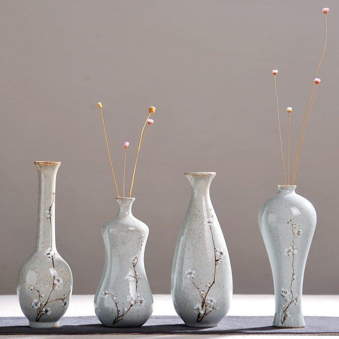 粗陶陶瓷小花瓶梅花小花插復古小花器茶室家居擺件