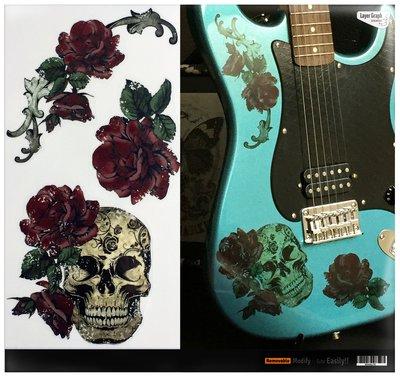 園之屋 日本 Inlay sticker 玫瑰骷髏 高彩系列 琴身大圖貼紙 民謠吉他 電吉他 貝斯  防水移除不傷漆面