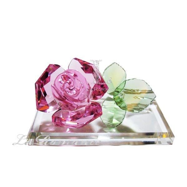 【芮洛蔓 La Romance】璀璨水晶粉色玫瑰花 / 情人節 / 母親節