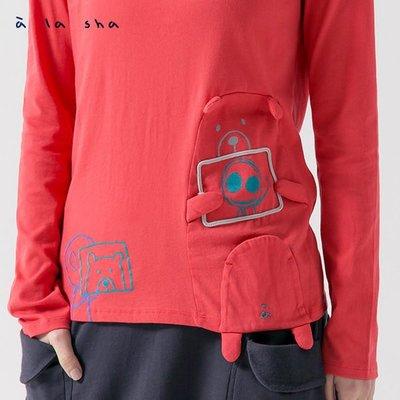 只有一件【無法三日內匯款者勿下標】a la sha 飛飛大熊交換照片長袖T 磚紅S(全新)