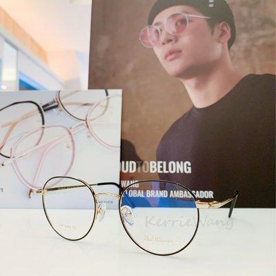 Paul Hueman 韓國熱銷品牌 黑-金色 圓形金屬眼鏡 英倫街頭時尚 學院復古潮流設計 出眾品味潮人必備 PHF368D 368