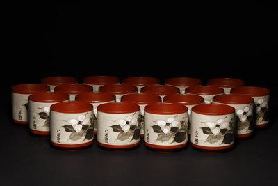 11/29結標 仁峰 朱泥 茶花杯 一套 111300─日本茶具 鉄壺 聚寶盆 家飾 沉香 青花瓷  日式餐具 翡翠