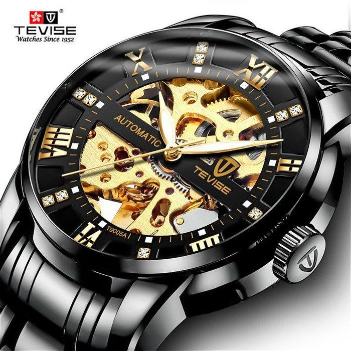 新款 TEVISE 特威斯正品 奧地利鑲鑽刻度機械鏤空面盤 夜光 不銹鋼帶全自動機械錶時尚商務型男手錶【S & C】