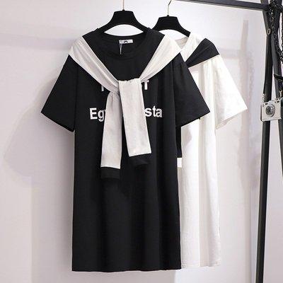 大娃娃中大尺碼【60933-Y】韓款綁帶休閒假二件長版上衣(特惠)