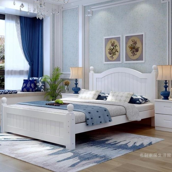 實木床現代簡約1.8米雙人床主臥1.5米公主床歐式床鬆木1.2m單人床WY 尾牙