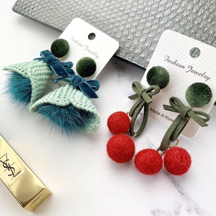 現貨【韓Lin連線代購】韓國 正韓聖誕節 聖誕紅 聖誕綠 時尚立體毛絨耳環