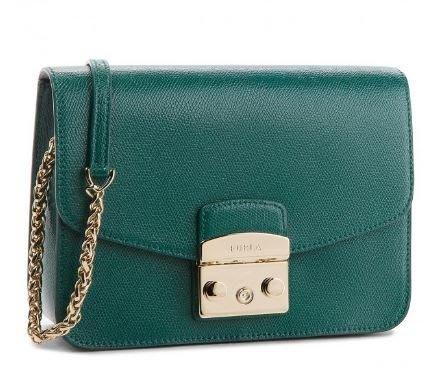 安安精品保證全新正品 FURLA 978089 B BNF8 綠色牛皮金鍊肩背包-義大利80年知名皮具品牌