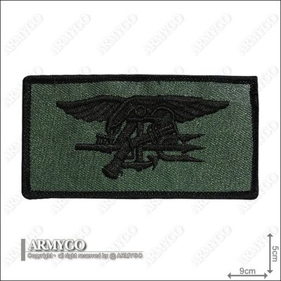 【ARMYGO】美國海豹部隊繡章(綠色) (5 x 9 公分)