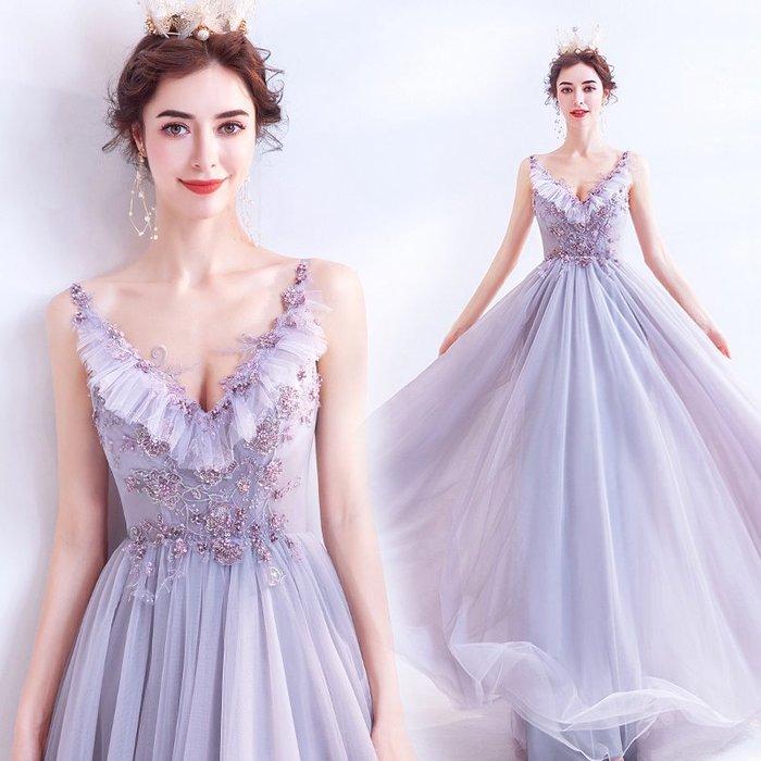妞妞 婚紗禮服~淡紫色深V生日派對宴會婚纱長禮服~3件免郵