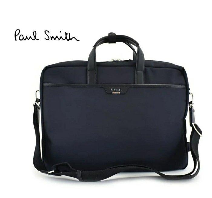 Paul Smith  ( 深藍色 )  帆布尼龍×真皮 手提包 後背包 肩背包 多用法貪心包 中性款|100%全新正品|特價!