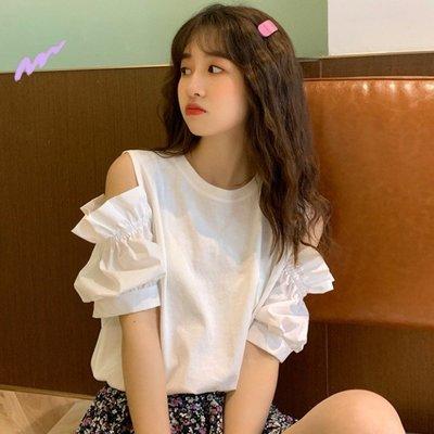 小香風 短袖T恤 時尚穿搭 韓版 拼接鏤空寬松學生圓領短袖T恤女設計感小眾上衣