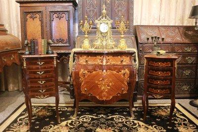 【家與收藏】賠售特價稀有珍藏歐洲古董法國古典精緻銅金Inlaid鑲嵌床邊櫃/置物櫃 5