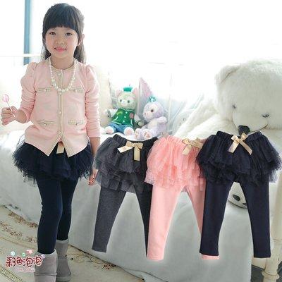 ○。° 彩色泡泡 °。○ 童裝【貨號Q7489】冬。金色蝴蝶結超澎加厚絨毛貼腿褲裙~3色