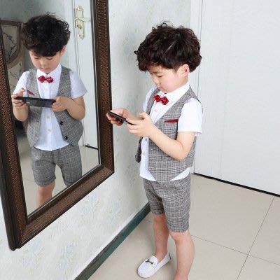 【衣Qbaby】男童禮服馬甲短褲花童畢業典禮兒童禮服四件套#上衣+馬甲+短褲+領結