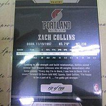 新賣家~17/18~Zach Collins /199~RC~限量/199~Dominion~鐵板卡~50 1元起標~2