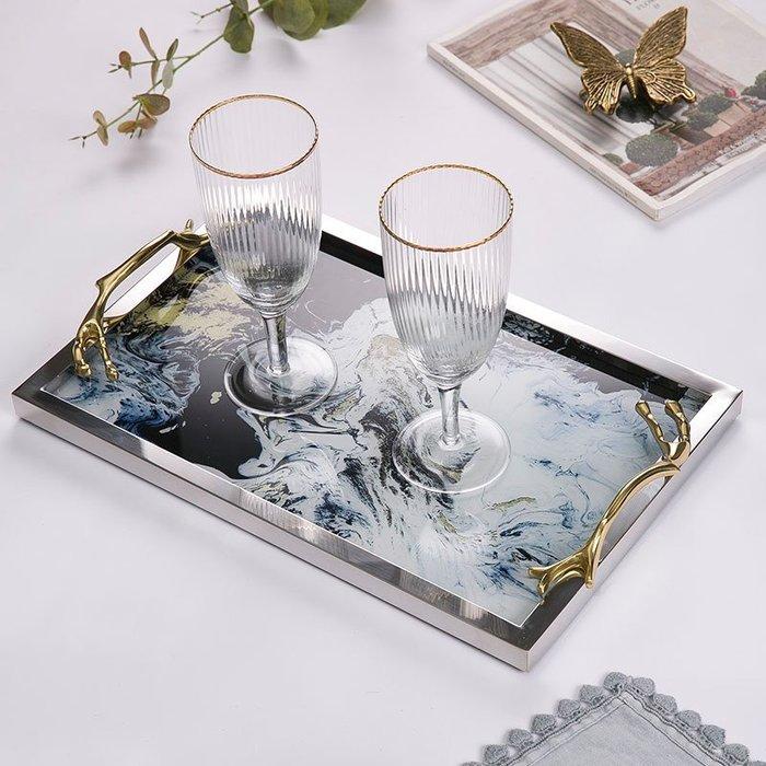 〖洋碼頭〗歐式輕奢銅提手不銹鋼玻璃託盤 收納盤茶盤 飾品展示擺件 shx401