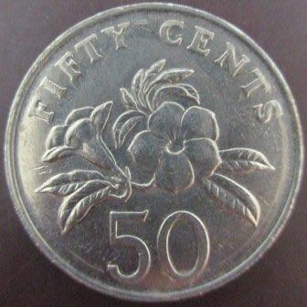 ~SINGAPORE 新加坡 50 FIFTY CENTS 1986 1987 1991年 錢幣/硬幣三枚~