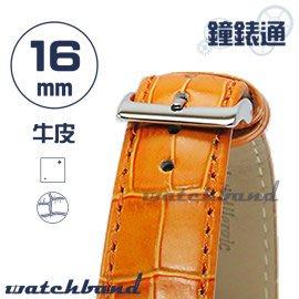 【鐘錶通】C1.25I《亮彩系列》鱷魚格紋-16mm 橙橘┝手錶錶帶/皮帶/牛皮錶帶┥