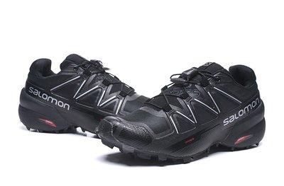 所羅門Salomon SPEEDCROSS 5 緩震越野跑步鞋男運動鞋休閒鞋 慢跑鞋 薩洛蒙戶外登山鞋 黑銀40-46碼