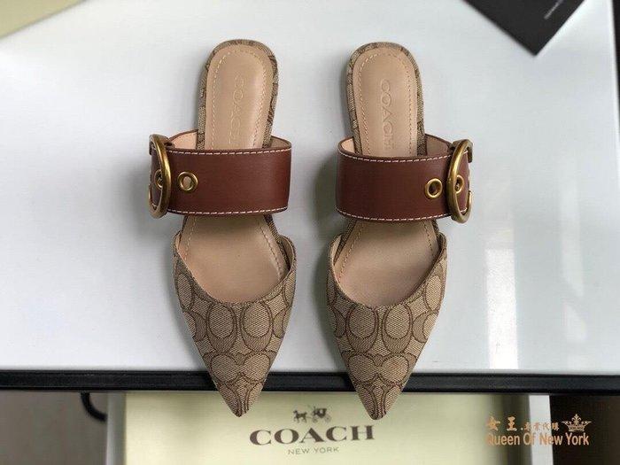 【紐約女王代購】COACH 寇馳 2020新款 懶人鞋 滿版LOGO 休閒鞋1 時尚精品 美國連線代購