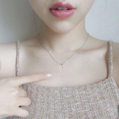 哆啦本鋪 蝴蝶結項鍊女鎖骨鏈S925項鍊日韓國簡約配飾頸鏈百搭飾品 D655