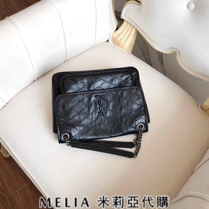Melia 米莉亞代購 歐洲代購 Saint Laurent YSL 18ss 8月新品 復古鍊條皺褶包 油蠟牛皮 黑色