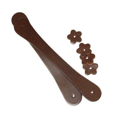 【小布物曲】牛皮配件7折-純手工頂級牛皮小花單提把21cm 180019‧DIY配件/袋物