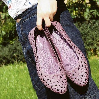 夏季新款鏤空果凍鞋女涼鞋平底水晶塑料單鞋平跟時尚沙灘鞋洞洞鞋