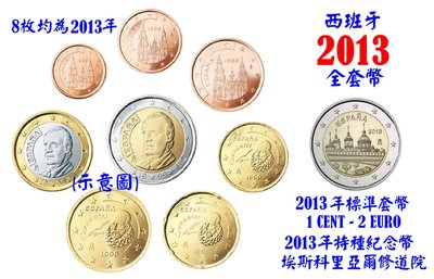 【幣】EURO 西班牙2013年 歐元全年組 1 cent ~ 2€ 全新8枚 + 特種紀念幣(埃斯科里亞爾修道院)