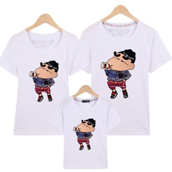 小孩 蠟筆小新T恤 純棉T恤 短袖t恤 親子t恤 全家親子裝 一家三口 一家四口 全家裝 團體服 班服 母女裝 父子裝