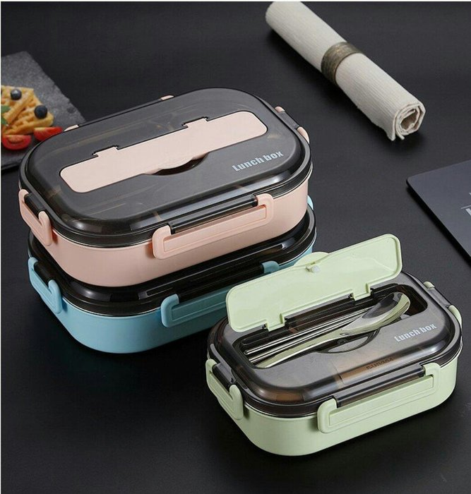 多功能5格不鏽鋼分格便當盒+手機架&餐具收納