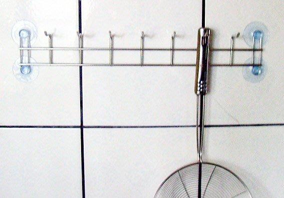 ☆成志金屬☆S-88-2A 『免鑽孔』#304不銹鋼掛勾 排鉤, 7連鉤 附吸盤輕鬆安裝簡單使用特惠價