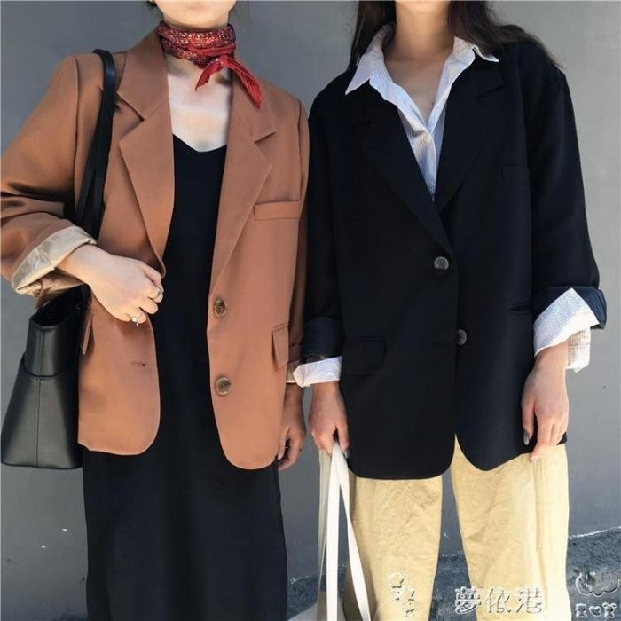 春秋韓版簡約兩粒扣休閒寬鬆上衣氣質純色長袖開衫學生西裝外套女