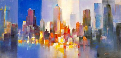 聚鯨Cetacea﹡Art【Light of city V / MW】進口油畫 無框畫 手繪油畫 城市之光