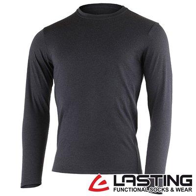 丹大戶外用品【LASTING】歐都納 男款長袖羊毛T恤 LT-LOGAN 黑灰
