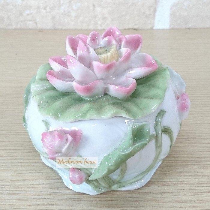 點點蘑菇屋 精緻歐洲高級瓷器亞諾弗系列-荷花珠寶盒 蓮花置物盒 花卉收納盒 首飾盒 藝術陶瓷精品 現貨
