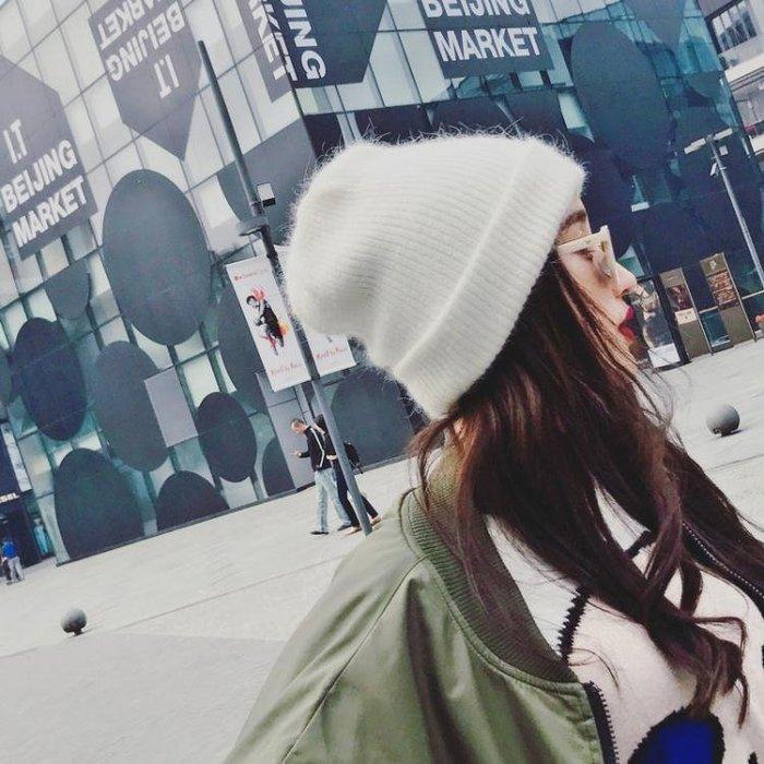 毛帽 秋冬兔毛冬帽白色帽子女冬毛線帽冬天潮百搭休閒韓版時尚針織冬季