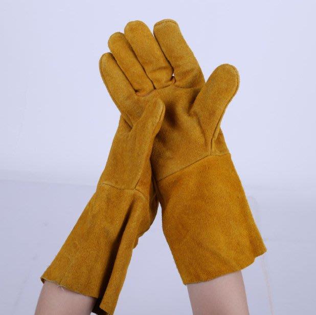 電焊手套 牛皮掛裡焊工手套 耐磨加長加厚 勞保手套