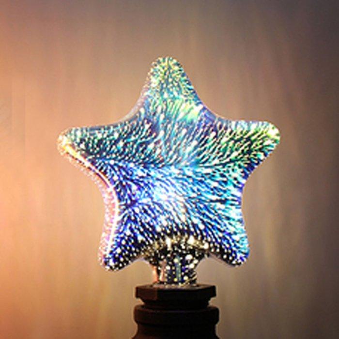 5Cgo【代購】設計師聖誕樹氣氛小夜店LED創意煙花烟火流星燈泡 五角星七彩立體藝術E27 3D十種造型 另十款燈座含稅