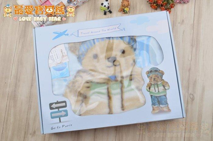 ✪最愛寶貝熊✪專櫃精品高質感泰迪熊厚款雙面毛毯100*140公分彌月禮盒滿月禮盒獨家贈送精美禮袋送禮超有面子-藍色❤