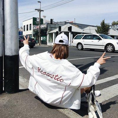 2018初春秋新款韓版寬松學生刺繡棒球服bf原宿風夾克開學季外套女